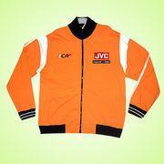 Quality Men's Jacket Made of 100% Cotton Fleece in Orange Color for sale