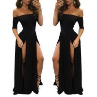 Buy cheap Half Sleeve Off-Shoulder Sexy Evening Party Dress Slip Up Sexy Prom Gown #YZ1056 from wholesalers