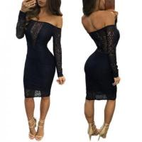 Buy cheap Sexy Strapless Black Fashion Bandage Neck Midi Bodycon Dress M360 #M360 from wholesalers