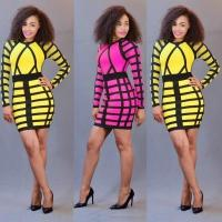 Buy cheap Yellow/Rose Long Sleeves Fashion Women Mini Bodycon Dress WMZ2093 #WMZ2093 from wholesalers