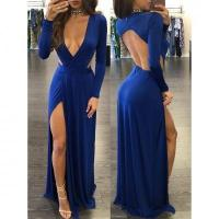 Buy cheap Open Back Sexy V Neck Women Fashion Evening Dress in Blue M358 #M358 from wholesalers