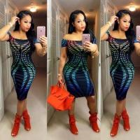 Buy cheap Stripe Printed Sexy Dew Shoulder Midi Clubwear Dress WMZ2095 #WMZ2095 from wholesalers