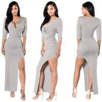 Buy cheap Solid Color Sexy V Neck Half Sleeves Evening Party Dress #OEP5060 from wholesalers
