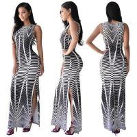 Buy cheap Stripe Printed Women Fashion Sleeveless Long Party Dress K8085 #K8085 from wholesalers