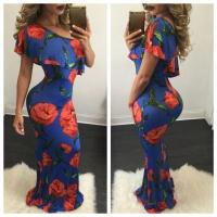 Buy cheap Red Flower Print Women Fashion Long Party Dress A8056 #A8056 from wholesalers