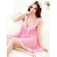 Quality manufacuturer wholesale cute pink deep V neck princess babydoll lingeries accept PAYPAL A8887 for sale