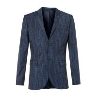 Quality Blue Wool Blend Abstract Print Skinny Fit Suit Jacket for sale
