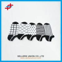 Quality Houndstooth Ankle Socks Black with White Color for sale
