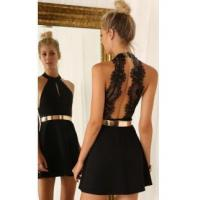 Buy cheap Sexy Mini Party Dress Cheap 2016 Halter Open Back Cocktail Dress with Gold BeltItem Code: BA2991 from wholesalers