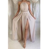 China Halter Front Spilt Backless Evening Gowns Sexy 2016 Summer Party DressesItem Code: BA2735 on sale