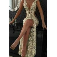 Quality Sexy White Lace Evening Gowns 2016 Sleeveless Beading Split Prom Dresses CE0061Item Code: BA2786 for sale