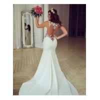 Buy cheap Sheer Back Lace Buttons Wedding Dress 2016 Mermaid Sleeveless Sexy Bridal GownsItem Code: WE0066 from wholesalers