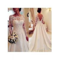 Buy cheap 2016 Long Sleeve Lace Wedding Dresses Open Back Satin Elegant A Line Bridal GownsItem Code: WE0067 from wholesalers