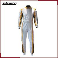 Quality Auto Racing Suit (77) Two layer 100% cottom one piece auto racing suit white golden green C070 for sale
