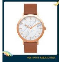 Unisex geunine leather watches marble dial watch OEM factory slim watches