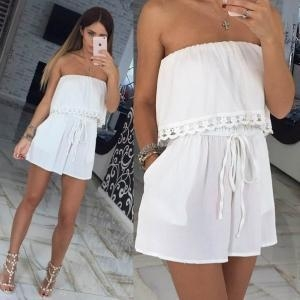 Buy Sexy White Overlay Tube Dress 21476-3 at wholesale prices
