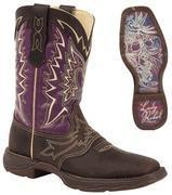 "Quality Durango Boots - REBEL Let Love Fly - Women's 10"" Leather Western Boots - Purple/Brown for sale"