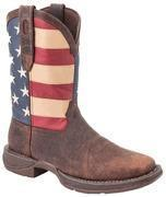 "Quality Durango Boots - REBEL - Men's 12"" Patriotic Flag Leather Western Boots - Brown, Red, White, Blue for sale"