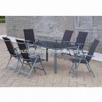 China Outdoor Dining Table Set, 7-piece Alum Frame Table with Tempered Glass Chair, Sling Fabric on sale