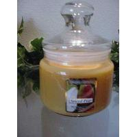 China Spiced Pear Scented Apothecary Glass Jar Wax Candle 16 Oz on sale
