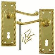 China Solid Brass Door Knob Set: Rectangular Locking Set With Mortise Latch on sale