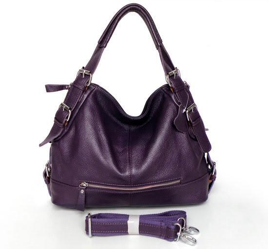 3006P-1 100% Real Leather Purple Shoulder Bag Handbag Purse