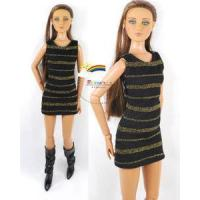 """Quality 16"""" Tonner Tyler/Gene Outfit Gold Stripes Dress Black for sale"""