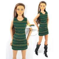 """Quality 16"""" Tonner Tyler/Gene Outfit Gold Stripes Dress D.Green for sale"""
