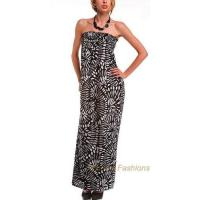 Quality Tropical Print Elastic Smocked Empire Cut Maxi Dress for sale