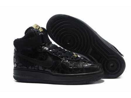 Buy Nike High Tops Air Force 1 Supreme Womens Exotic Croc Glossy Black Spots at wholesale prices