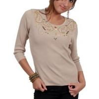 China Beaded Scoop Neck - Beige - 50% OFF on sale