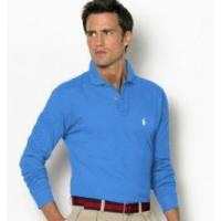 Quality Man Classic-Fit Long-sleeved Polo - Blue for sale