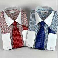 Buy cheap New Check Dress Shirt w/White Collar & French Cuffs & Tie & P/S from wholesalers
