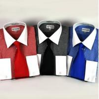 Buy cheap New Mini Check Dress Shirt w/White Collar & French Cuffs & Necktie from wholesalers
