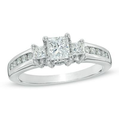 Three Stone Princess Cut Engagement Rings