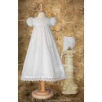 Cotton Christening Dress with Italian Lace - CO64GS