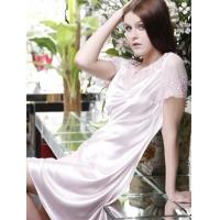 China Charming Pink 90% Lycra 10% Silk Embroidered Ladies House Dress on sale