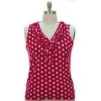 Buy New Hot Pink Polka Dot Womens Plus Size 2X 18/20 Ruffle Blouse Top Sleeveless at wholesale prices