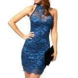 Quality Women's Sexy Polo Neck Floral Lace Cocktail Evening Mini Dress Party Clubwear (Blue) for sale