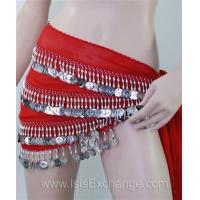 Quality Belly dance Hip Scarf - Red and Silver for sale