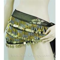 Quality Belly dance Hip Scarf - Tie Dye Black Silver and Gold for sale