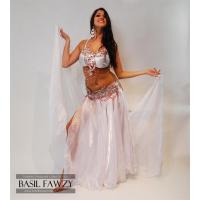 Quality Silver Designer Belly Dance Costume by Basil Fawzy for sale