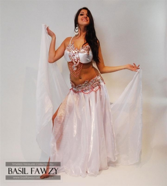 Buy Silver Designer Belly Dance Costume by Basil Fawzy at wholesale prices