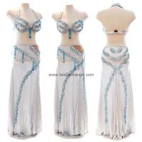 Quality Metallic Silver/White Belly Dance Costume for sale