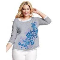 China Tops & Tees JMS Long-Sleeve Scoop-Neck Two-Fer Graphic TeeBlue on Blue Print on sale