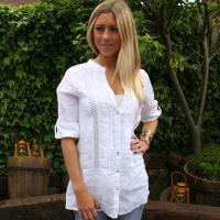 China K569 Sexy Ladies Unique White Linen Shirt Blouse on sale