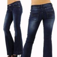 China K561 Sexy Ladies 70s Style Dark Blue Kick Flare Festival Jeans on sale