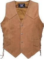 China Mens Brown Leather Vest Side Laces #AL2217 on sale