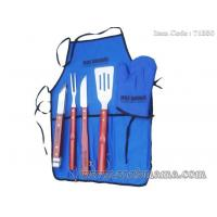 Quality 5pcs local Chinese wood handle bbq set with apron tote bag for sale