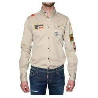 Quality Dsquared Men Cream Hoodie Long Sleeve Opening Neck Online for sale